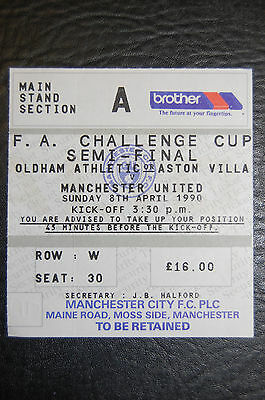 Ticket 1990 Fa Cup Semi/final  Oldham Athletic V Manchester United