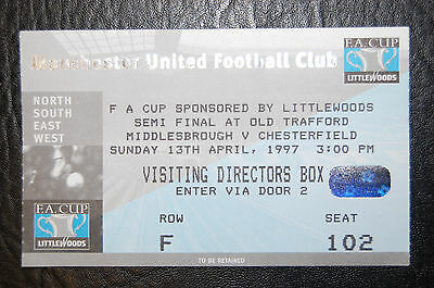 Ticket 1997 Fa Cup Semi/final  Middlesborough V Chesterfield