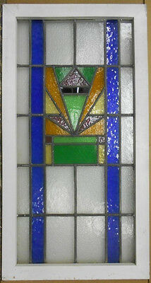 """LARGE OLD ENGLISH LEADED STAINED GLASS WINDOW Pretty Abstract 21"""" x 39.25"""""""