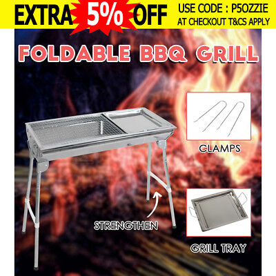 Portable Camping Stainless Steel Charcoal BBQ Oven Barbecue Grill Foldable NEW