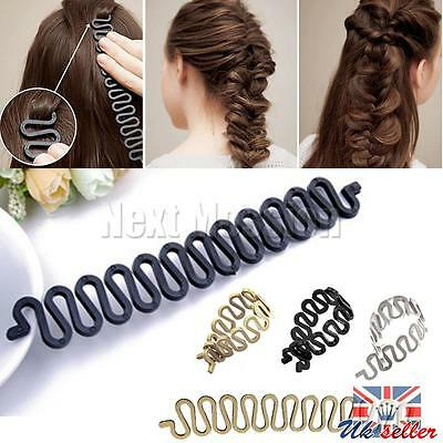UK Black French Hair Braiding Tool Roller With Hook Magic Wist Styling Bun Maker