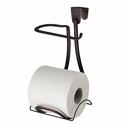 InterDesign Axis Toilet Paper Holder for Bathroom Storage, Over the Tank -Bronze