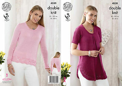 Ladies Lace Detail Jumper & Top Double Knitting Pattern King Cole Giza DK 4530