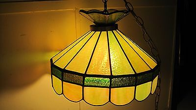 Vintage Mid Century Stained Glass Hanging Ceiling Fixture Home & Garden Light