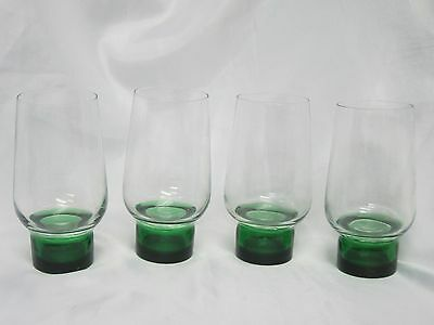 UNKNOWN GLASS - Art Deco - Green & Clear - 4X FOOTED TUMBLERS - 033