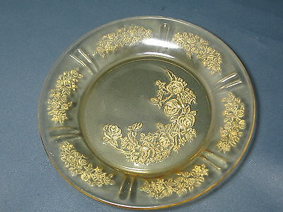 FEDERAL GLASS - Sharon Cabbage Rose - Amber Despression - B&B PLATE - 014