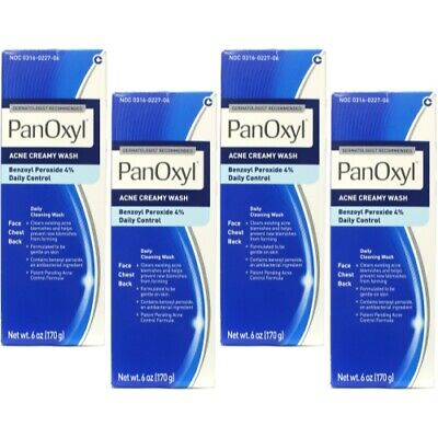 4 Pack - Panoxyl 4 Benzoyl Peroxide Acne Foaming Face Wash 4% 6oz Each