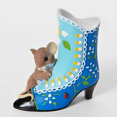 "Charming Tails Mouse Figure 3.5"" Victorian Shoe A Beautiful Sole #4025770 NIB"