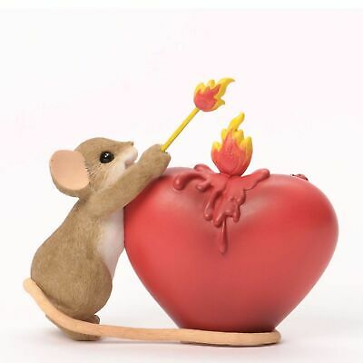 "Charming Tails Mouse 3.25"" Figure Youve Lit a Fire in My Heart Love #4035253 NIB"