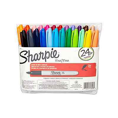 24-Pack Sharpie 75846 Fine Point Permanent Marker Variety Colors Pen Set Draw