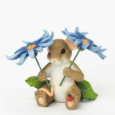 "Charming Tails Mouse FIG 2.5"" Beautiful Think Of You Spring Flowers #4035615 NIB"
