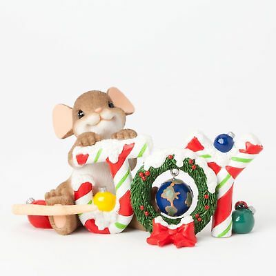 "Charming Tails Mouse 2"" Figure Christmas Holiday JOY TO THE WORLD #4041179 NIB"