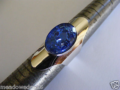 Sarah Coventry Silvertone Ring Blue Lucite Egyptian Revival Cuff SZ 7 Cleopatra