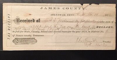 James County, Ooltewah, Tennessee Tax Receipt 1879. Hamilton, County