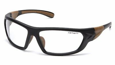 Carhartt Carbondale Clear Lenses Black Brown Frame Safety Glasses Z87+