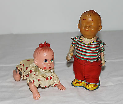 Vintage 1950's Tin Wind-Up Crawling Baby + Toddler with Bottle Pants Dropping