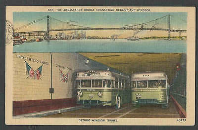 Dated 1944 Ppc* Tunnel Busses Go Thru Detroit Windsor Tunnel Usa To Canada