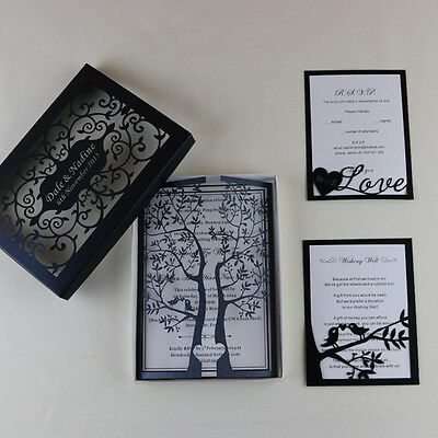 50-Intricate Personalized Laser Cut Tree Day Wedding Invitation+Insert+Envelopes