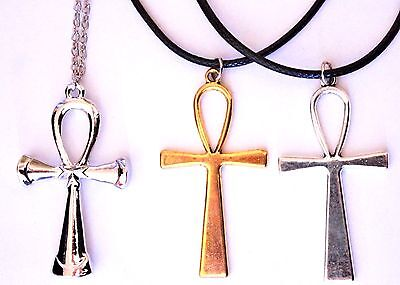 Large Ankh Sign Cross Life Symbol Pendant Gold Silver Ancient Egyptian Necklace
