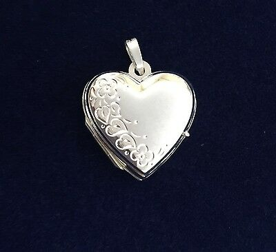 NEW Sterling Silver Heart Locket 925 Pendant Suitable for 2 Photos Free Shipping