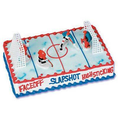 Hockey Cake Kit Toppers  Decorations 6 pieces - 2 goalies, 2 goals, 2 forwards