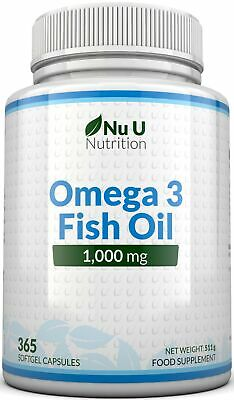 Omega 3 Fish Oil 1000mg 365 Softgels   DHA + EPA 100% MONEY BACK Guarantee
