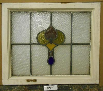 """OLD ENGLISH LEADED STAINED GLASS WINDOW Pretty Abstract 21.75"""" x 18.5"""""""
