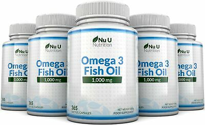 Omega 3 1000mg Fish Oil 5 Bottles x 365 soft gels DHA + EPA 100% MONEY BACK