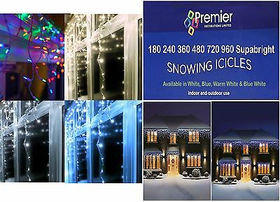 Premier 360 Led BLUE WHITE Snowing Icicles Supabrights Christmas Tree Lights NEW