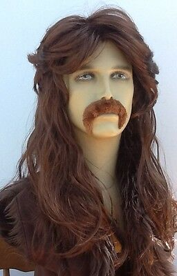 Brown Men's Long Mullet & Thick Droop Moustache fancy Dress Wig