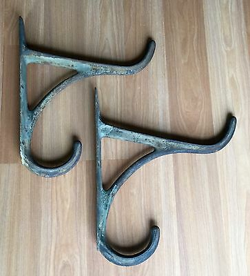 Vtg Antique Extra Large Huge Tack Hook Industrial Iron Wall Bracket Lot Of 2