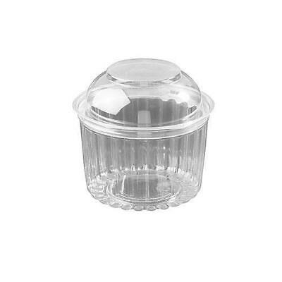 250x Clear Plastic Container with Hinged Dome Lid 16oz / 455mL Disposable Salad