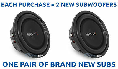 "NEW! (2) MB QUART DS1-204 800W 8"" Dual 4-ohm Shallow Mount Car Subwoofers/Subs"