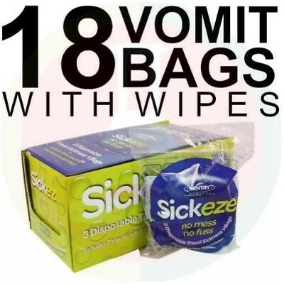 18 Vomit Bags With Face Wipes Sickeze No Mess