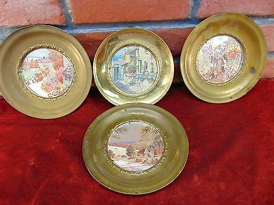 4 LOT Antique SOLID BRASS ENGLISH WALL HANGINGS Foil Landscapes FRAMES England