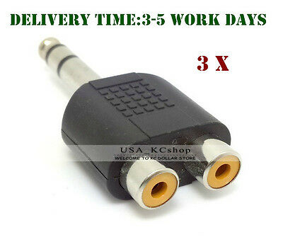 """New 1/4"""" 6.35mm Male to 2 RCA Female Y Splitter Converter Audio Cable Adapter"""