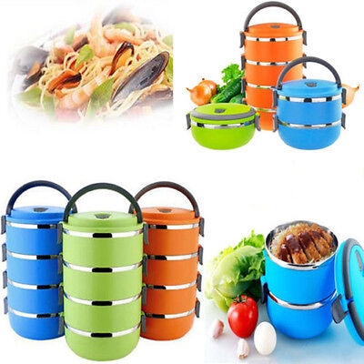 Stainless Steel Thermal Insulated Lunch Box Bento Food Container Handle 4 Layers