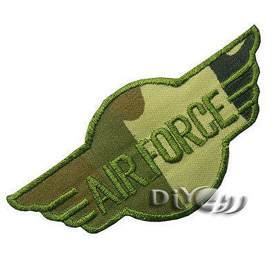 AIR FORCE Camouflage ARMY MILITARY Sew on  Iron on Applique Patch Badge Green