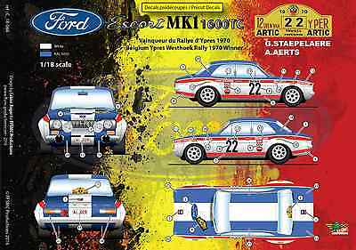 [FFSMC Productions] Decals 1/18 Ford Escort MK1 1600TC Rallye d'Ypres 1970