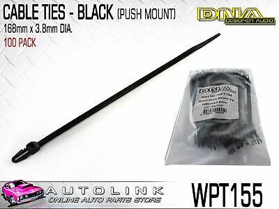DNA CABLE TIES 155mm x 4.8mm BLACK WITH PUSH MOUNT CLIP (PACK OF 100) WPT155