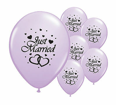 "10 Just Married Lilac 12"" Helium Quality Pearlised Wedding Balloons (Pa)"