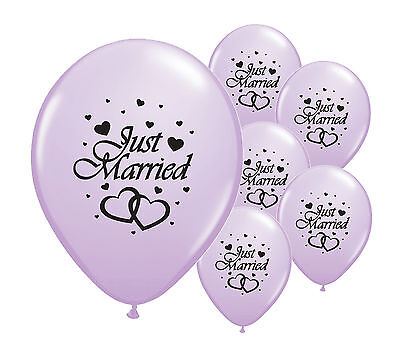 "8 Just Married Lilac 12"" Helium Quality Pearlised Wedding Balloons (Pa)"
