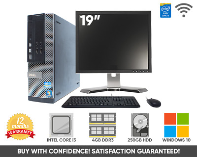 "Dell Optiplex Full Computer PC | Windows 7, 17"" Monitor Dual Core 250GB 4GB WiFi"