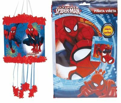 New Spiderman String Party Pinata With Blindfold Pw + 12, 24, 48, Or 100 Toys