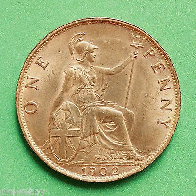 1902LT - Edward VII - Low tide Uncirculated Penny Full lustre - SNo40591.