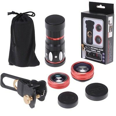 Universal 4in1 Clip On Camera Lens Kit Wide Angle Fish Eye Macro For Smart Phone