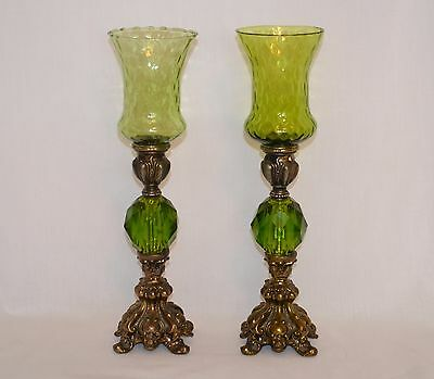 Vintage Green Candle Holders Cornell Lamps Repurposed Acrylic, Cast Metal, Glass