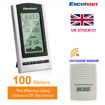 Digital LCD Wireless Weather Station Temperature Humidity Indoor Outdoor Monitor