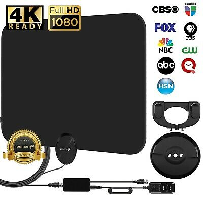 [80 Miles] Black Indoor Digital TV HDTV Antenna [2019 Latest] UHF/VHF/1080p 4K