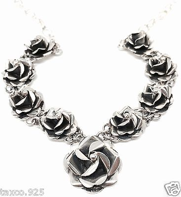 Taxco Mexican 925 Sterling Silver Floral Flower Rose Necklace Mexico